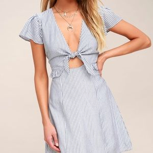 Blue and white striped cutout dress